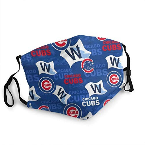 Chicago Baseball Cu-Bs Mouth Mask with Filter Pocket Dustproof Windproof Face Cover for College,Workout-Black for MLB Sport Team Chicago Cubs face mask
